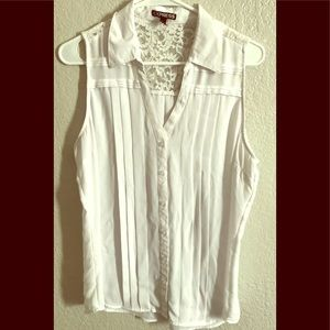 Pleated White Tank Top